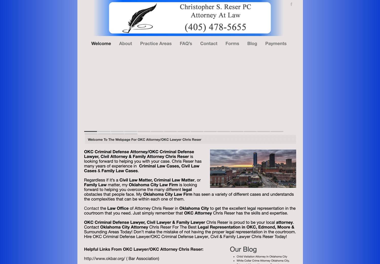 Reser Law Website BEFORE